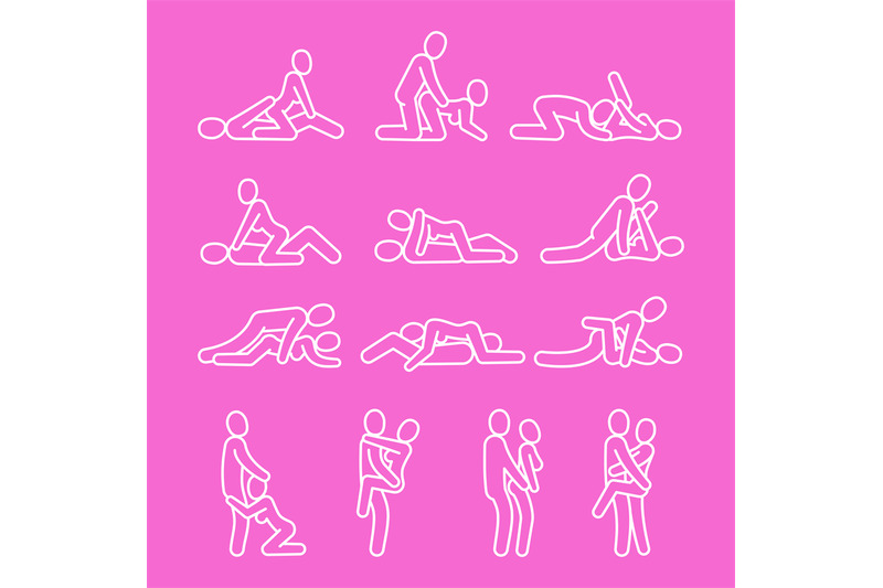 vector-love-outline-sexual-position-line-icons