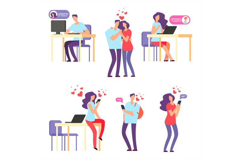 vector-online-romantic-dating-man-and-woman-cute-couple-using-mobile