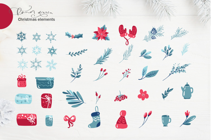 christmas-floral-holiday-elements