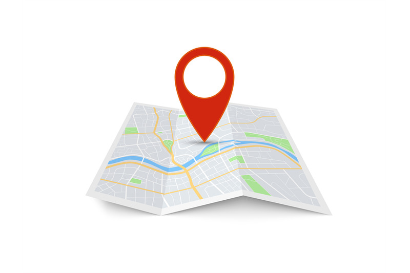 map-with-pin-red-direction-pointer-on-folded-city-map-gps-navigation