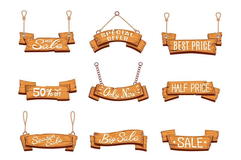 wooden-sale-banners-season-sales-vintage-wood-sign-boards-discount
