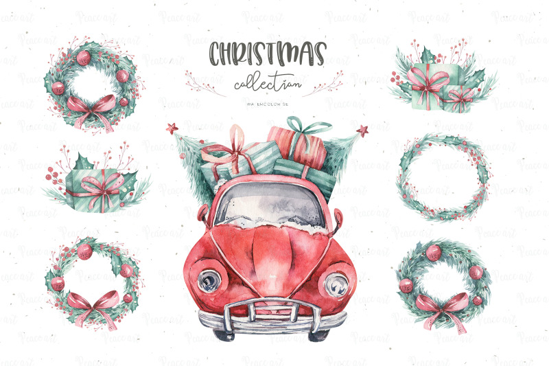 watercolor-christmas-cars-collection