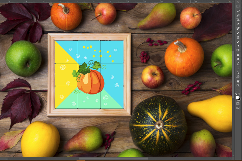 rustic-square-frame-mockup-with-pumpkins-pears