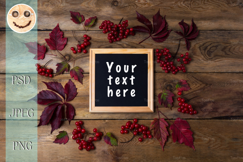 rustic-square-frame-mockup-with-viburnum-berries