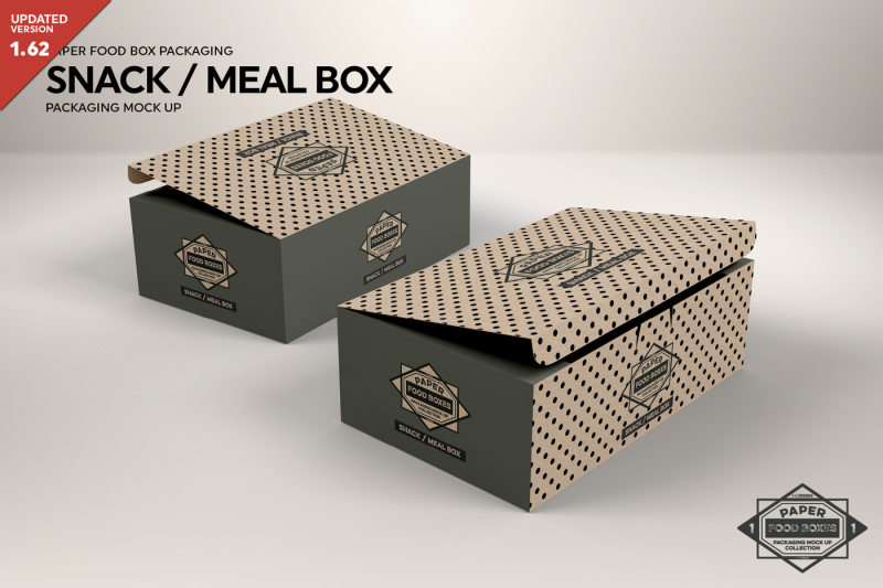 Free Snack or Meal Box Packaging MockUp (PSD Mockups)