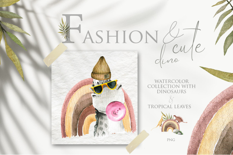 fashion-and-cute-dino-watercolor-collection