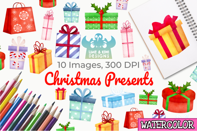 christmas-presents-watercolor-clipart-instant-download
