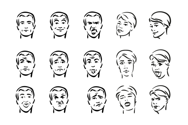 people-with-different-facial-express-icon-set