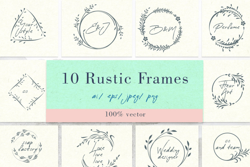 floral-vector-rustic-frames
