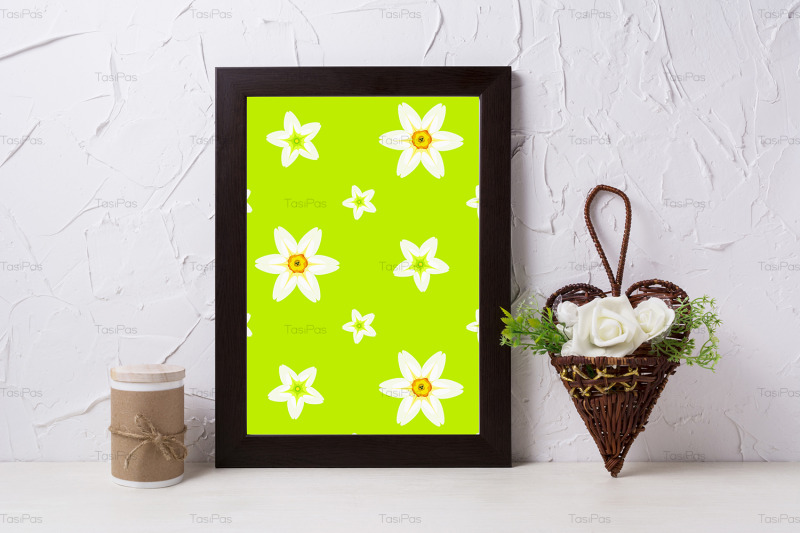 black-brown-poster-frame-mockup-with-roses-in-wicker-flower-pot