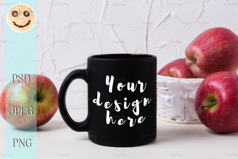 Free Black coffee mug mockup with apples in white basket (PSD Mockups)