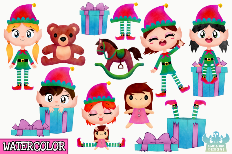 christmas-elves-girls-3-watercolor-clipart-instant-download