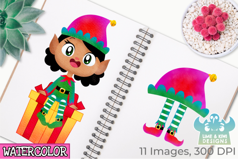 christmas-elves-girls-4-watercolor-clipart-instant-download