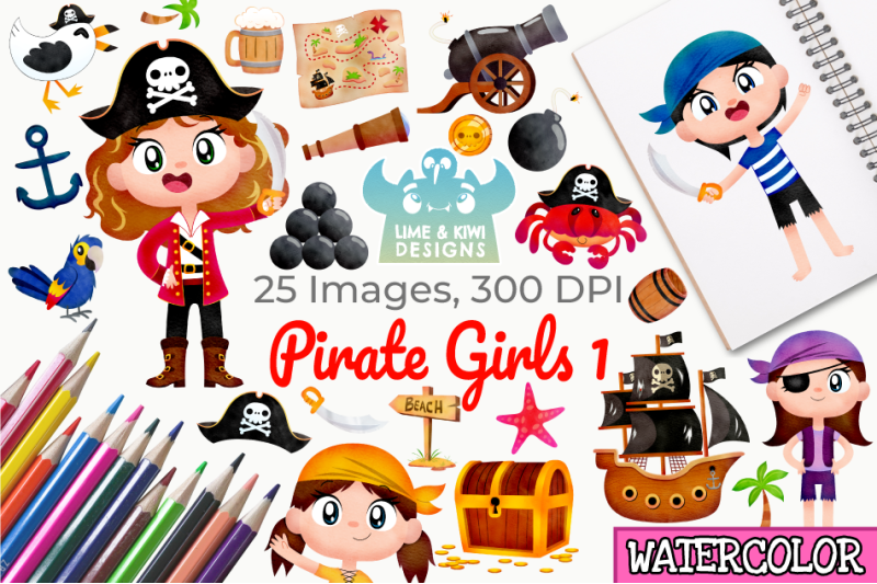 pirate-girls-1-watercolor-clipart-instant-download