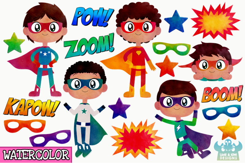 superhero-boys-1-watercolor-clipart-instant-download