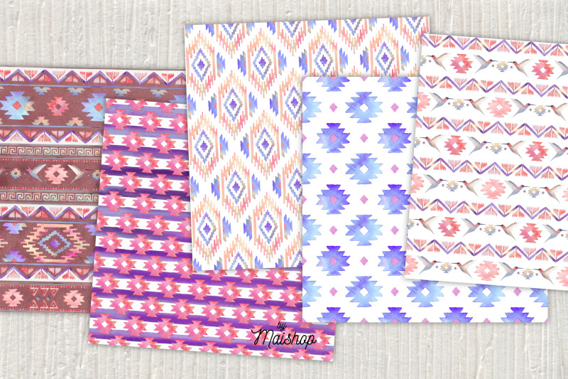 seamless-digital-paper-pack-watercolor-navajo-set-03