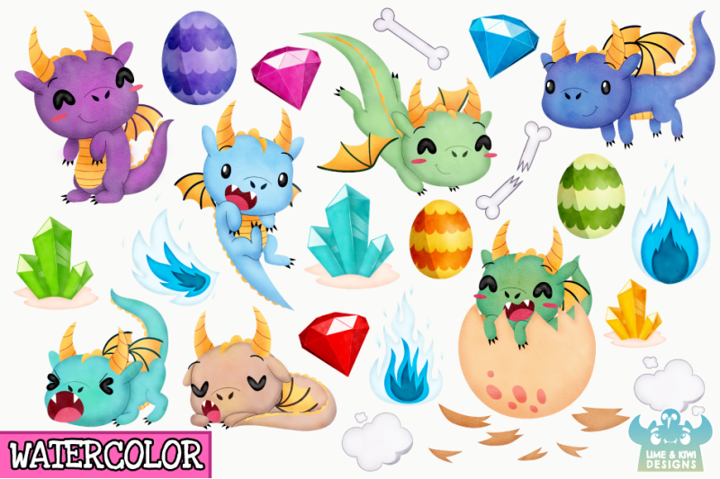 little-dragon-boys-watercolor-clipart-instant-download