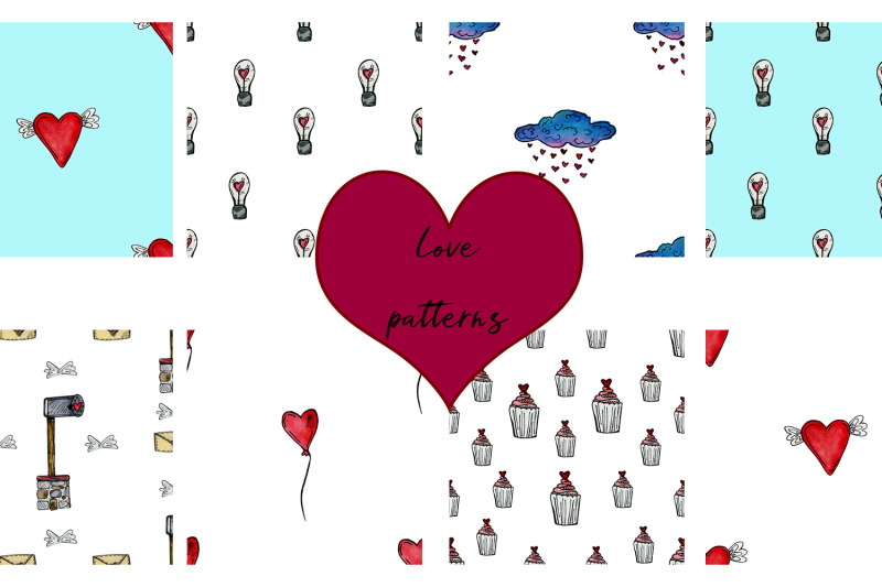 watercolor-set-for-valentines-day-patterns-and-illustrations