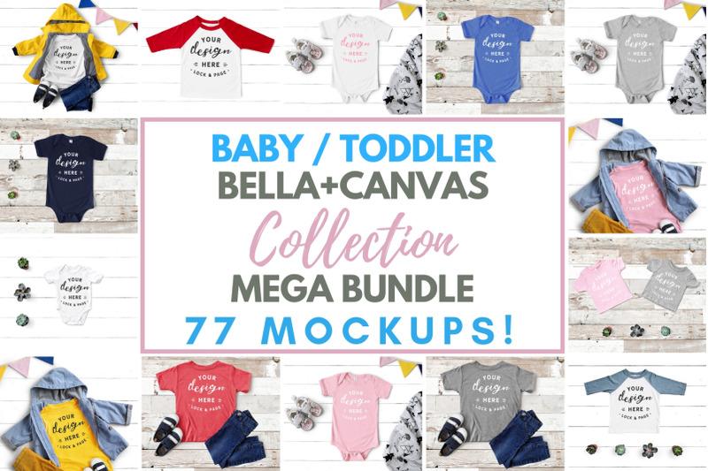 Free Baby Toddler Bella Canvas Mockup Mega Bundle, Kids Boy Girl Tees (PSD Mockups)