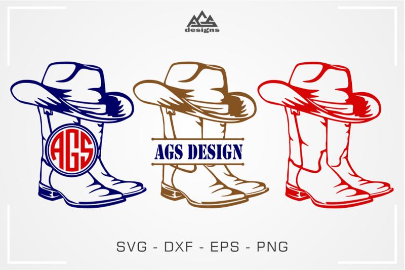 boot-cowboy-split-monogram-frame-svg-design