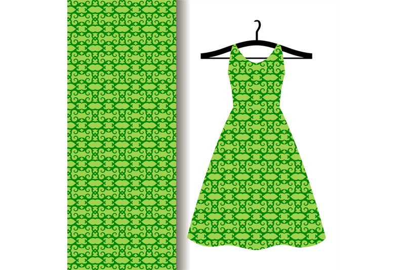 dress-fabric-with-green-arabic-pattern