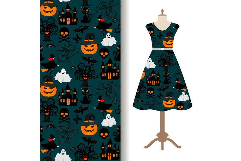 womens-dress-fabric-with-halloween-pattern
