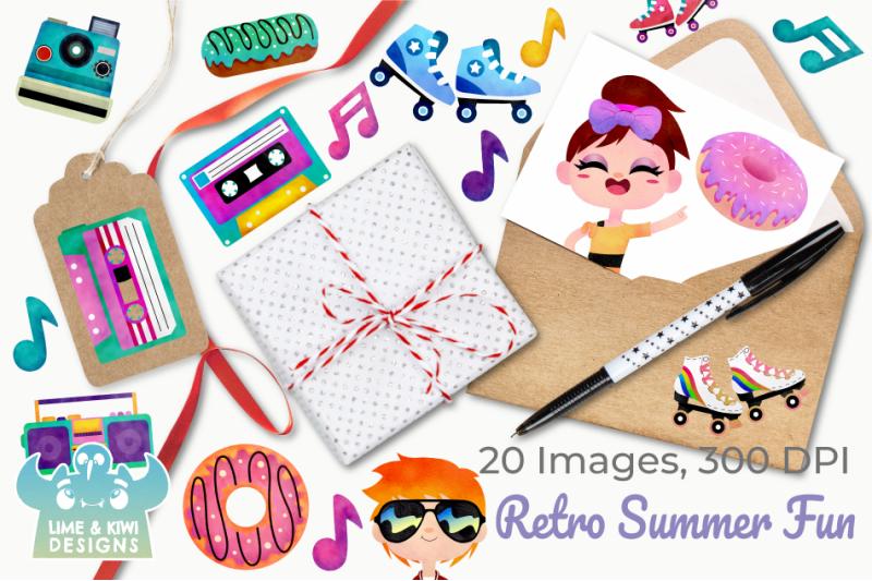 retro-summer-fun-watercolor-clipart-instant-download