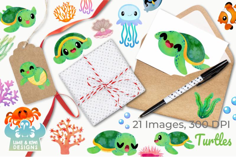 turtles-watercolor-clipart-instant-download-vector-art