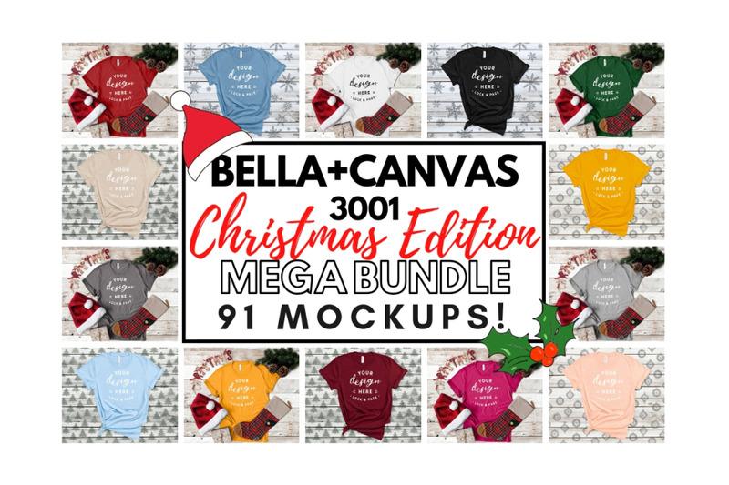 Free Xmas Bella Canvas 3001 T-Shirt Mockup Mega Bundle Festive Style (PSD Mockups)