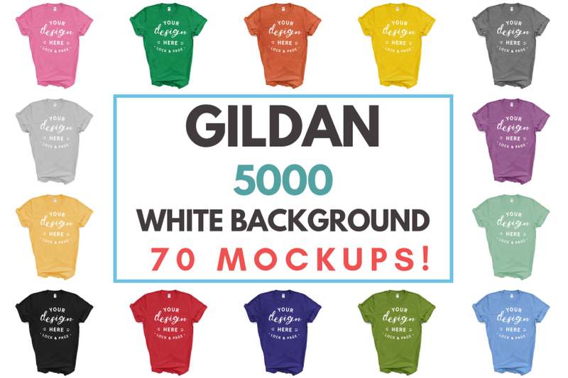 Free Gildan 5000 Masculine Unisex T-Shirt Mockup Bundle On White (PSD Mockups)
