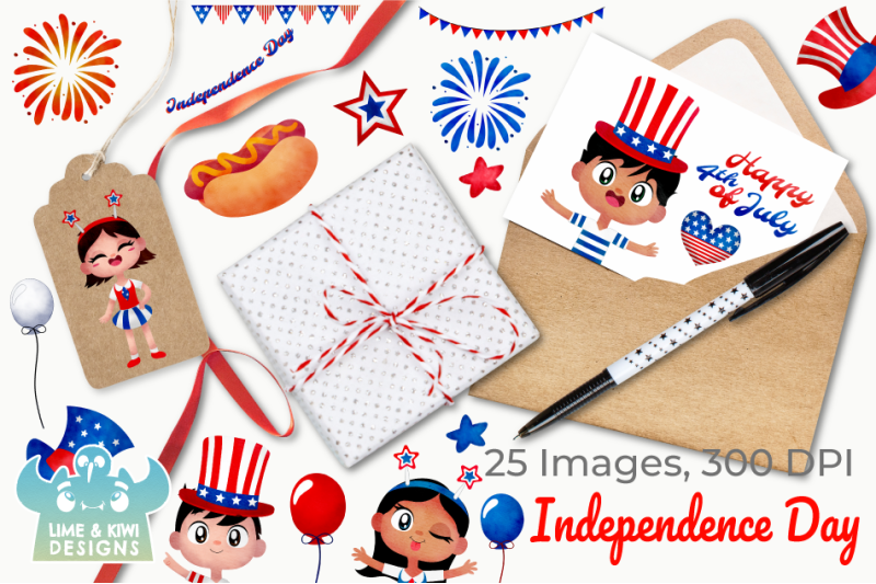 independence-day-watercolor-clipart-instant-download