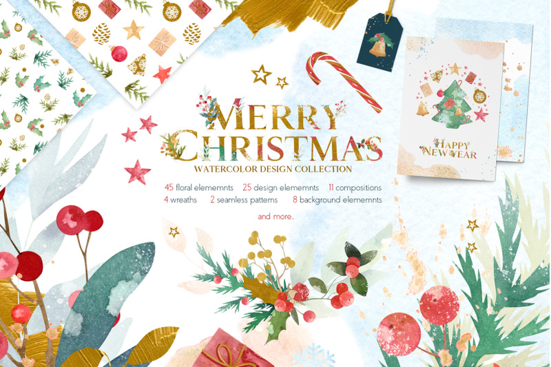 merry-christmas-watercolor-design-set