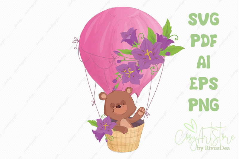 cute-teddy-bear-flying-n-a-hot-air-balloon-svg-vector-clipart
