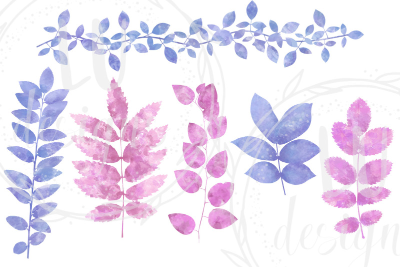 watercolor-foliage-clipart-tropical-greenery-leaves