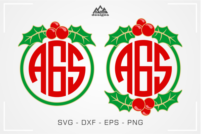 christmas-holly-berry-wreath-monogram-frame-svg-cuttable-design