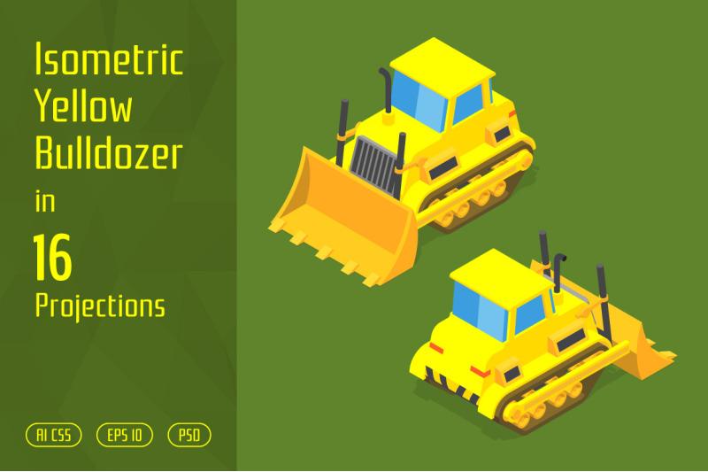 isometric-yellow-bulldozer