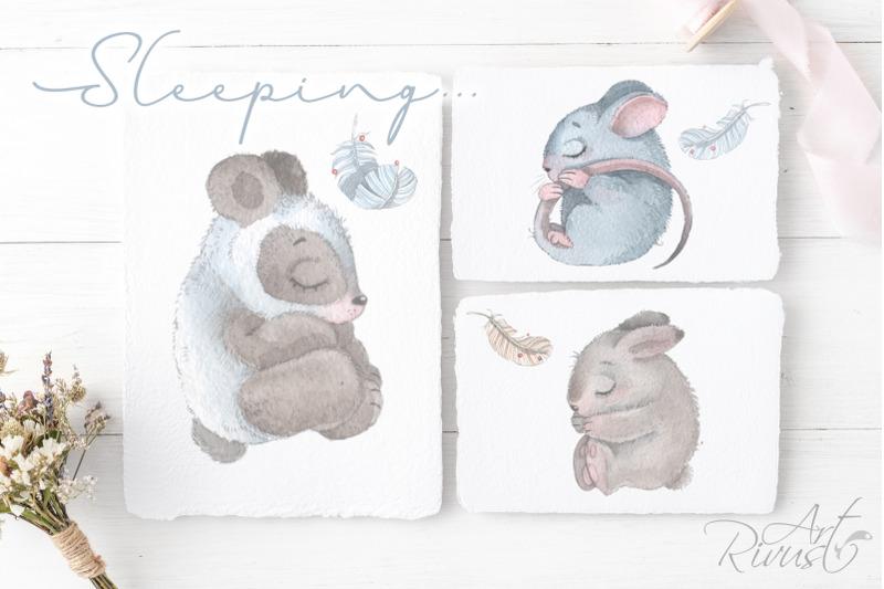 boho-watercolor-sleeping-animals