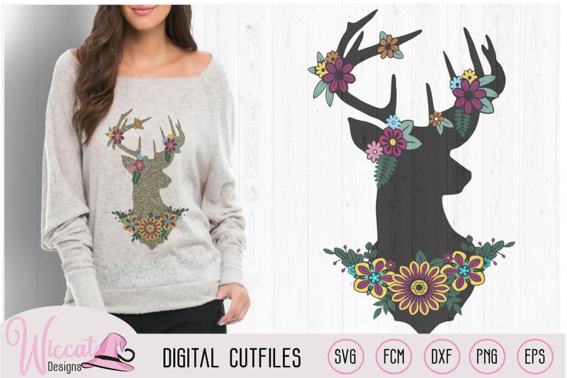 flower-deer-silhouette-deer-reindeer-svg