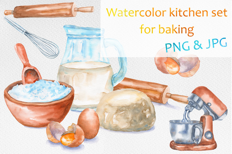 watercolor-kitchen-set-for-baking
