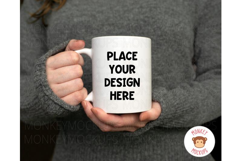 Free Woman Holding Mug Mockup - Coffee Mug Mockup (PSD Mockups)