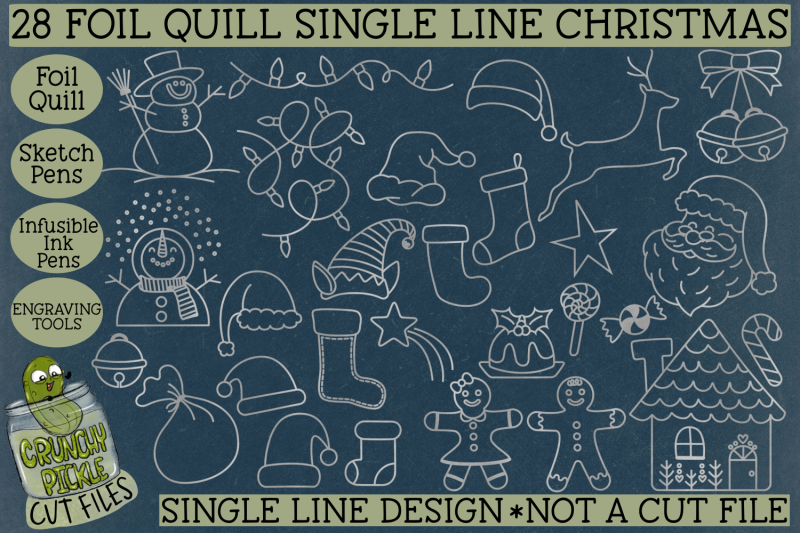 foil-quill-28-christmas-things-set-single-line-sketch