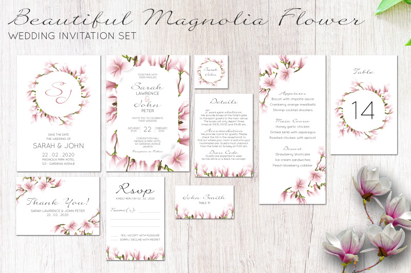 beautiful-magnolia-floral-wedding-invitation-set