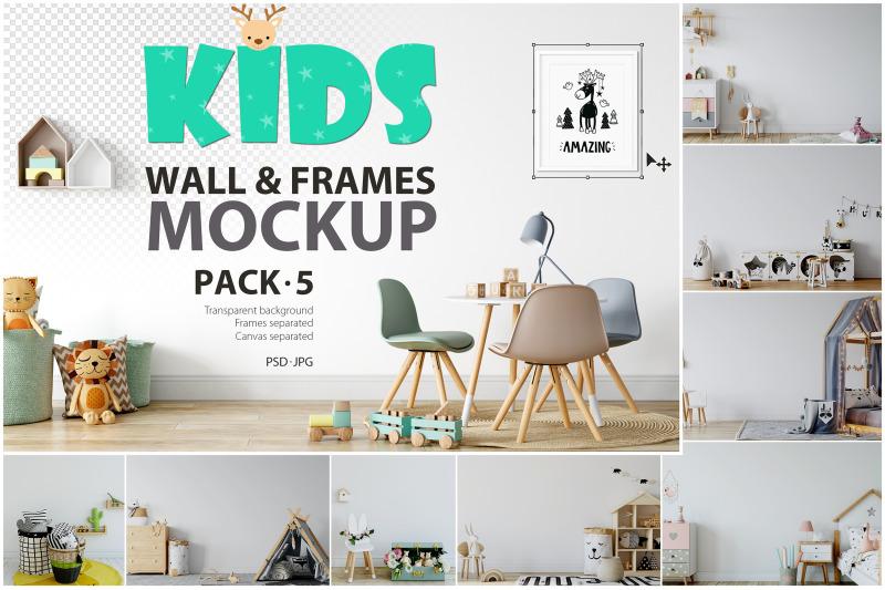 Free Kids Frames & Wall Mockup Bundle - 5 (PSD Mockups)