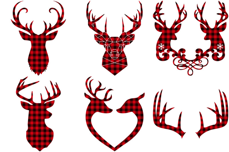 red-buffalo-plaid-deer-antlers-ai-eps-png