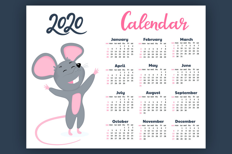 calendar-for-2020-from-sunday-to-saturday-year-of-the-rat