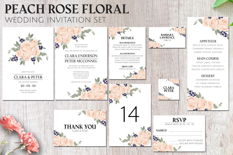 peach-rose-floral-wedding-invitation-set
