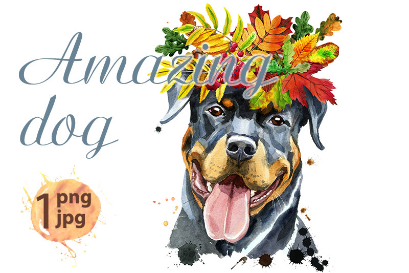 watercolor-portrait-of-rottweiler-with-wreath-of-autumn-leaves