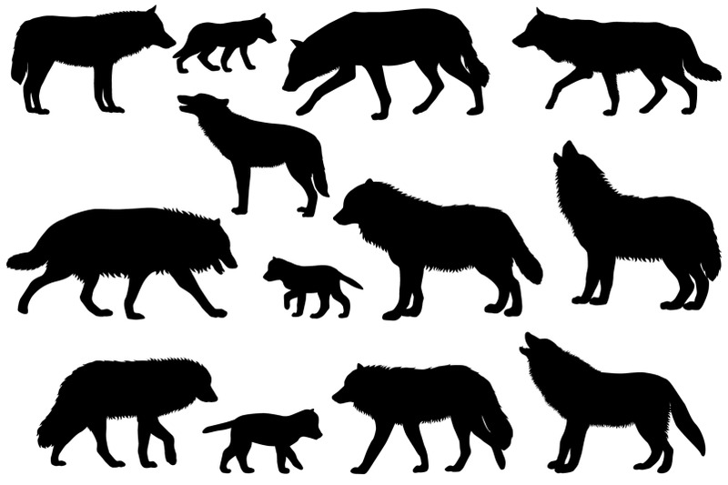 silhouettes-of-wolves-and-wolf-cubs