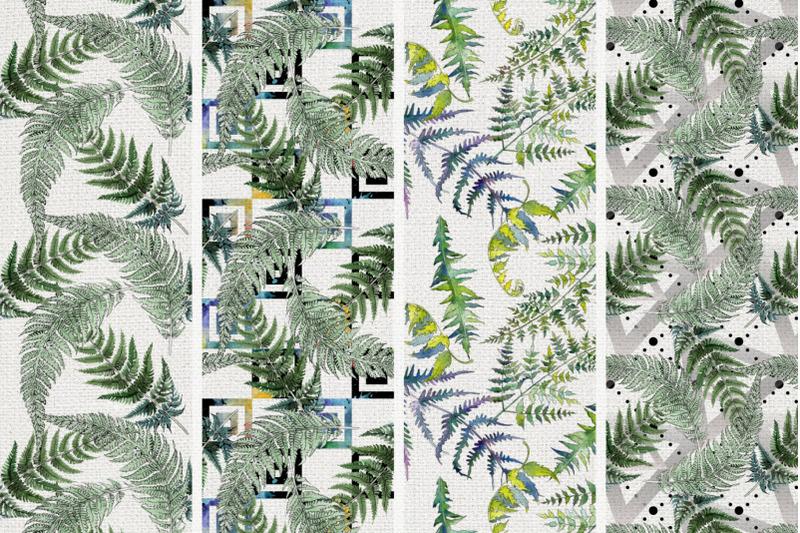 green-fern-leaves-watercolor-png