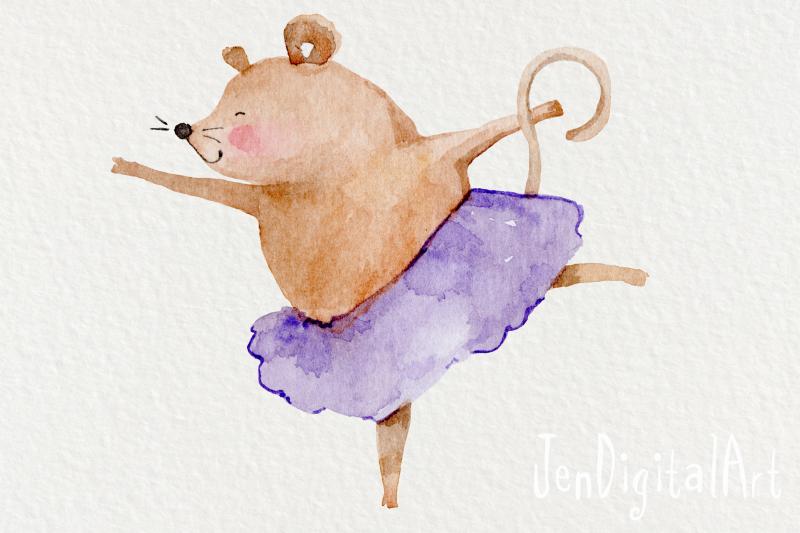 watercolor-ballet-mice-5-clip-art-illustrations-png-jpg